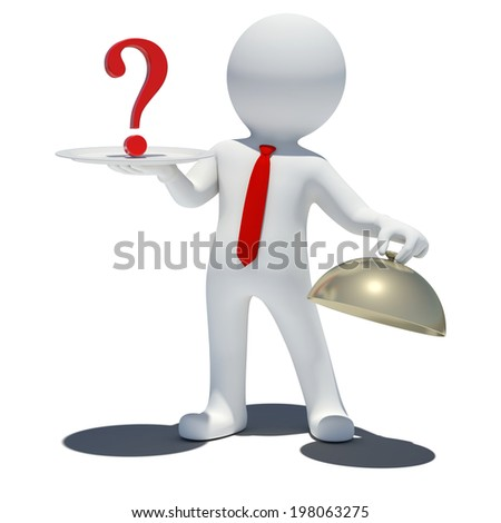 3d man with question mark. Isolated white background