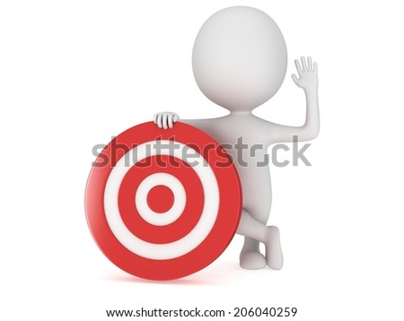 3D man with red aim target. Goal, luck, strategy, game, business concept.