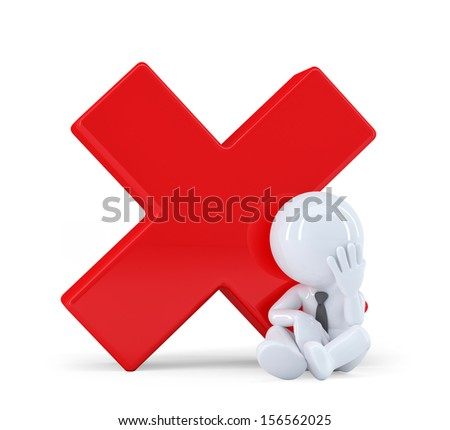 3D man with red check mark. Isolated on white background - stock photo