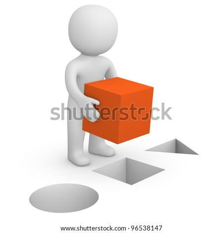 3d man with red cube