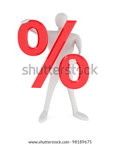 3d man with red percent sign