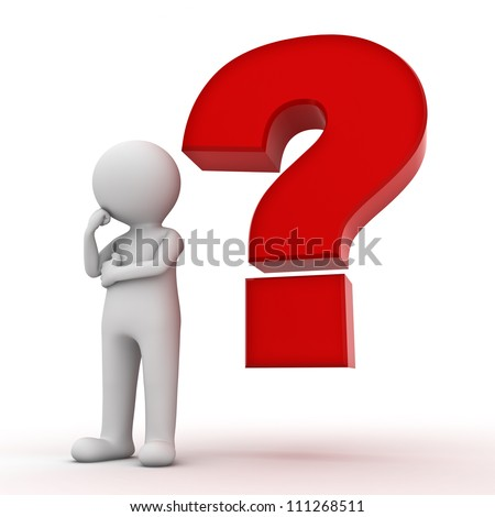 3d man with red question mark over white background - stock photo