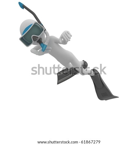 3d man with scuba gear isolated on white