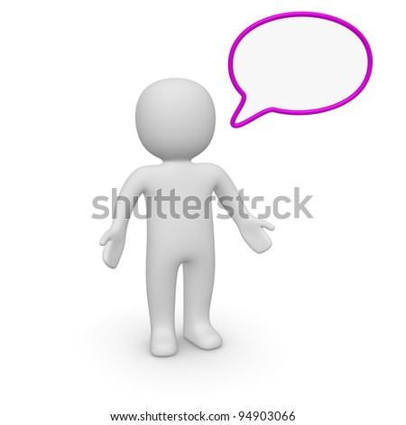 3d man with speech bubble - stock photo