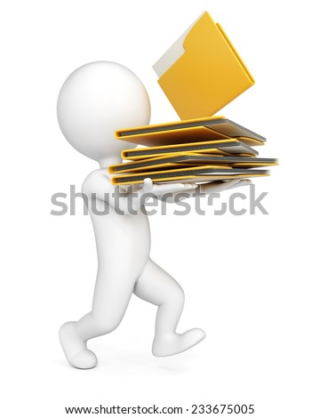3D man with stack of folders isolated on whire background. Paperwork concept. - stock photo