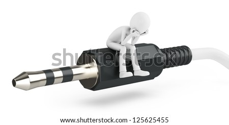 3d man with stereo audio jack on white background - stock photo