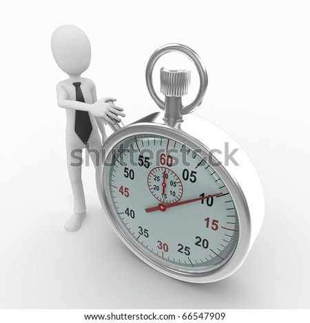 3d man with stop watch isolated on white - stock photo