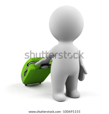 3d man with suitcase. - stock photo