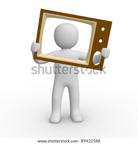 3d man with the TV screen - stock photo