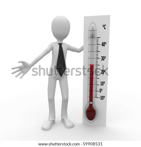 3d man with thermometer celsius degree scale
