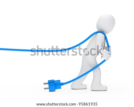 3d man with tie draws blue cable - stock photo