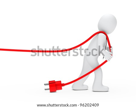3d man with tie draws red cable - stock photo