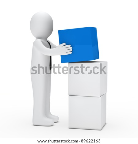 3d man with tie hold blue cube - stock photo
