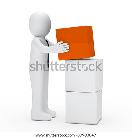 3d man with tie hold orange cube - stock photo