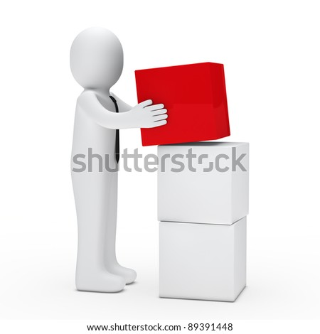 3d man with tie hold red cube - stock photo