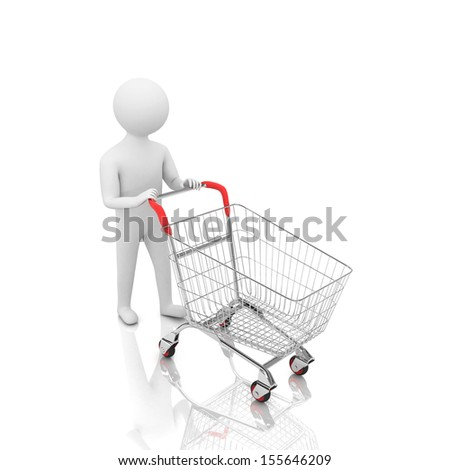 3d man with trolley for shopping - stock photo