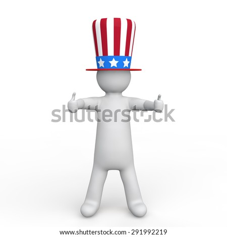 3d man with uncle sam  hat giving thumbs up. - stock photo