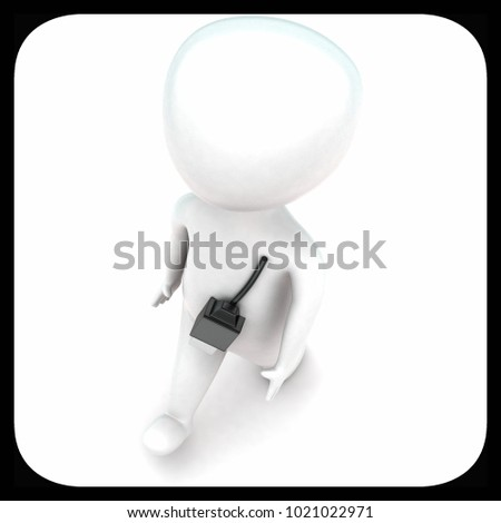 3d man with usb connector concept in white isolated background - 3d rendering ,  top angle view