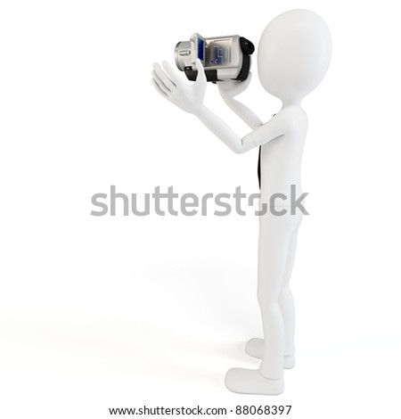 3d man with video camera on white background - stock photo