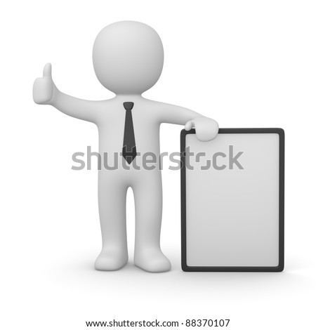 3d man with white poster - stock photo