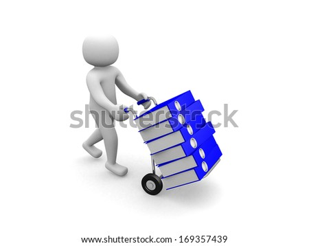 3D man -worker pushing a hand truck with files - 3d render - stock photo