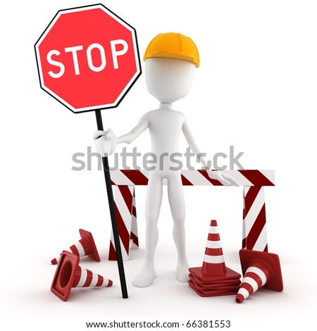 3d man worker STOP - isolated on white - stock photo