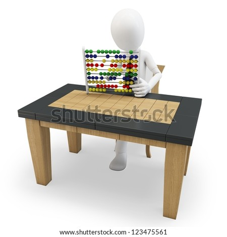 3D man working with an abacus on white background - stock photo