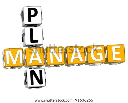 3D Manage Plan Crossword over white background