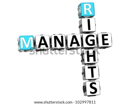 3D Manage Rights Crossword on white background - stock photo