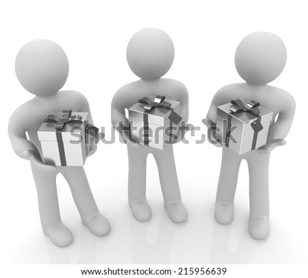 3d mans and gift with ribbon on a white background