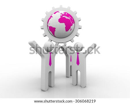3d mans holding the Globe - stock photo