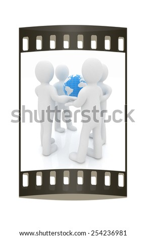 3d mans holding the Globe on a white background. The film strip - stock photo