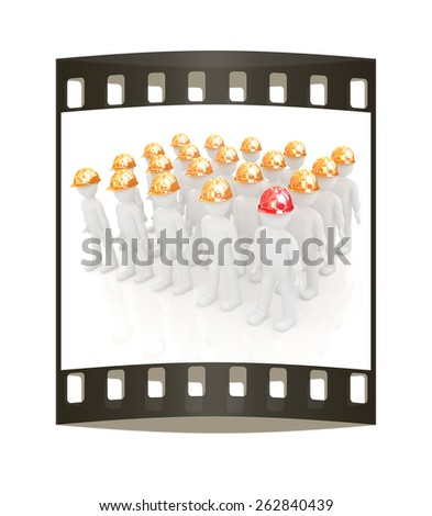 3d mans in a hard hat on a white background. The film strip - stock photo