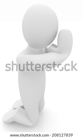 3d mans on his knees. Christian prayer concept
