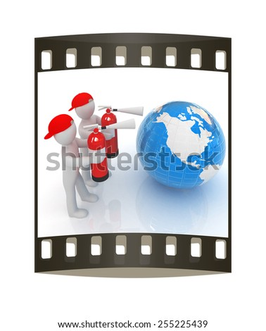 3d mans with red fire extinguisher extinguish earth on a white background. The film strip - stock photo