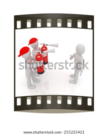 3d mans with red fire extinguisher. The concept of confrontation on a white background. The film strip - stock photo