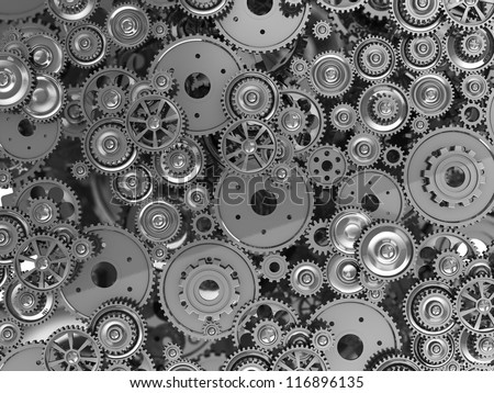 3d manufacturing: background of metal gears - stock photo
