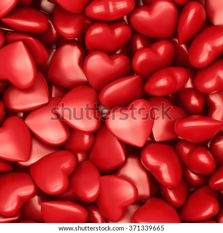 3d many and red  hearts Valentines Day