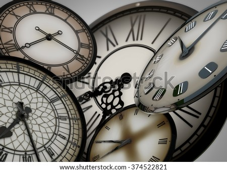 3d Many clocks floating in abstract space moving forward in time, on grey background with depth of field