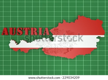3D map illustration of Austria with flag and coat of arms - stock photo