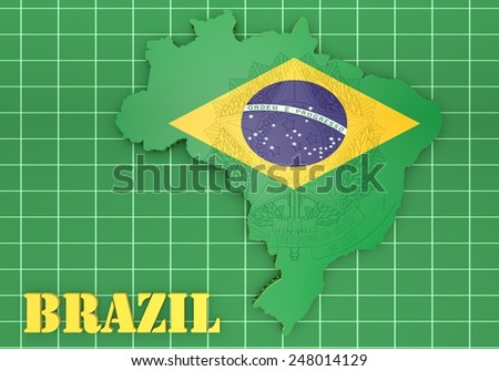 3D map illustration of Brazil with flag and coat of arms - stock photo