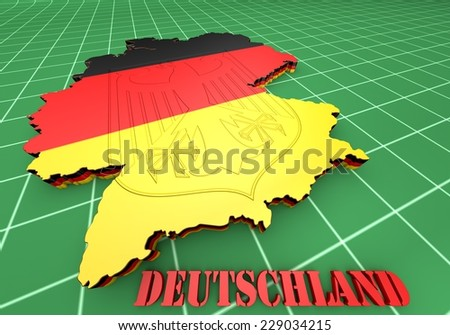 3D Map illustration of Germany with flag
