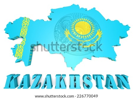 3d map illustration of Kazakhstan with flag and coat of arms - stock photo