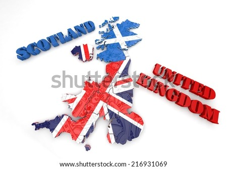 3D map illustration of Scotland and England with flag - stock photo