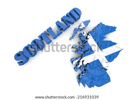 3D map illustration of Sctotland with flag - stock photo