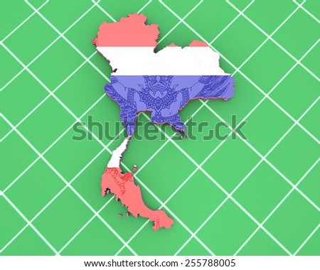 3D map illustration of Thailand with coat of arms - stock photo