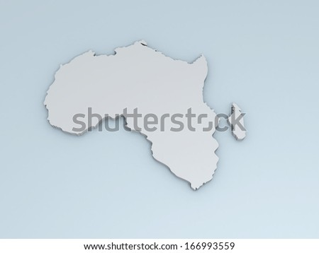 3D map of Africa on a simple background with high-resolution - stock photo
