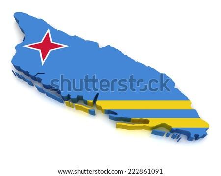 3D map of Aruba - stock photo