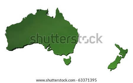 3D map of Australasia on white background - stock photo
