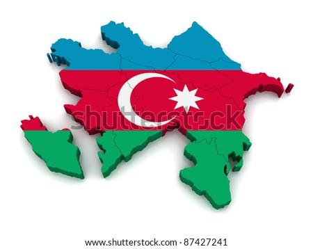 3D Map of Azerbaijan - stock photo
